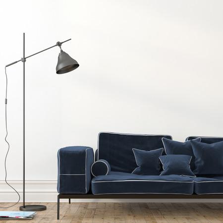 sofa: Minimalistic interior with a stylish blue velvet sofa and a modern black floor lamp Stock Photo