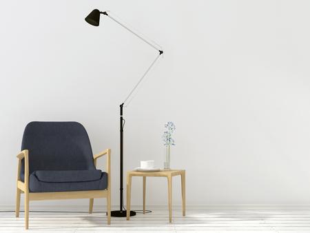 silla de madera con estilo, una mesa y una lámpara de pie negro en el interior blanco