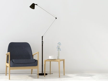 table lamp: Stylish wooden chair, a table and a black floor lamp in the white interior Stock Photo