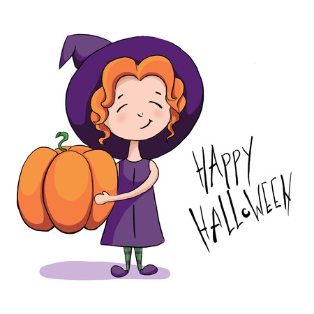 Halloween cartoon character. A cute little witch holding a big pumpkin and smiling