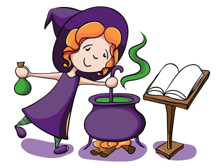 caldron: Halloween cartoon character. Cute witch cooks a potion in the big cauldron