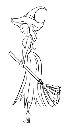 big hat: Black and white illustration of a witch with a broom and a big hat