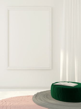 curtain up: Mock up. 3D illustration composition with white frame on the wall and green pouf