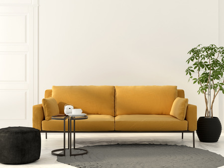 3D illustration. Interior of the living room with yellow sofa