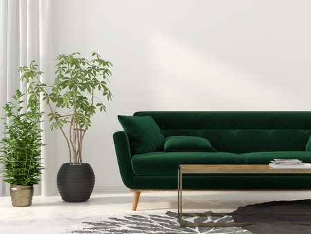 green sofa: 3D illustration. Interior of the living room with green sofa