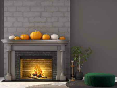 interior decoration: Interior decoration for Halloween. 3D illustration of dark gray interior with a classic fireplace and green pouf Stock Photo