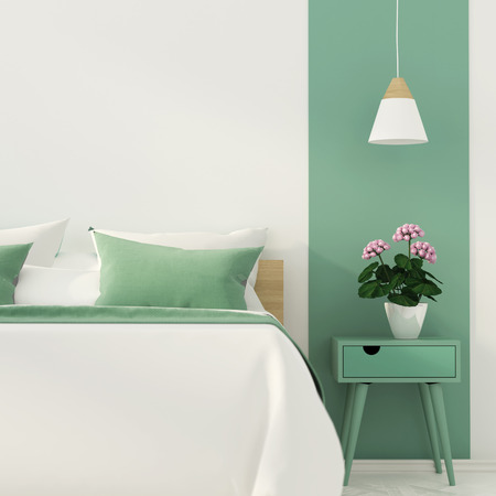 apartment suite: 3D illustration of stylish bedroom with a focus on a green color