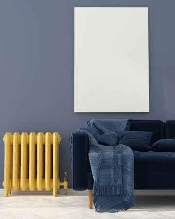 3D illustration. Mock up with blue sofa near a vintage yellow radiator Stock Photo