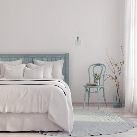 3 D イラスト。ブルーとベージュの光の色合いの寝室