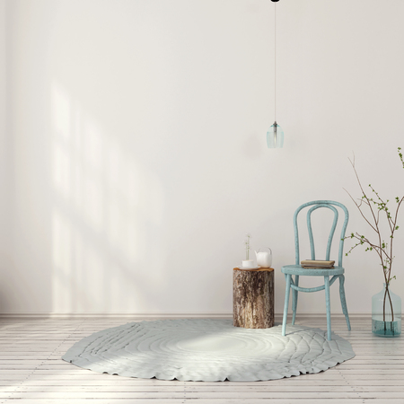3D illustration. The interior in light blue tones with vintage chair and a stump instead of a coffee table