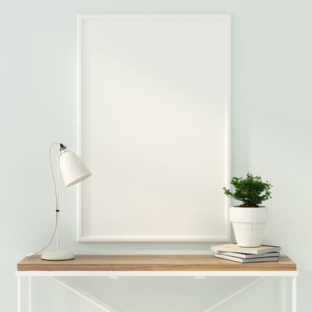 domestic room: 3D illustration. Mock up poster near the modern wooden table and a white table lamp