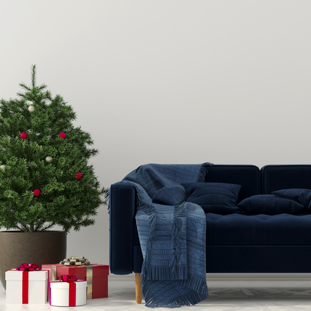 chequered ribbon: 3D illustration. Christmas interior of living room with the Christmas tree, gifts and a blue sofa