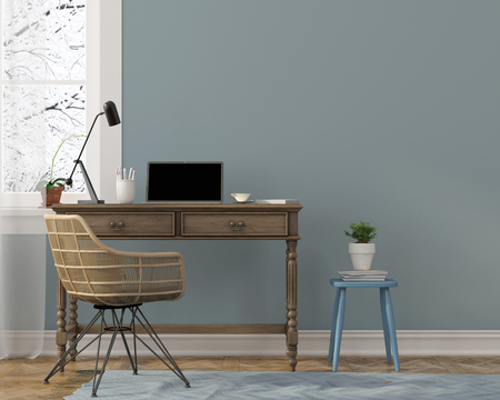 modern chair: 3D illustration. Cozy winter interior of workplace in blue tones with a stylish wicker chairs and wooden furniture Stock Photo