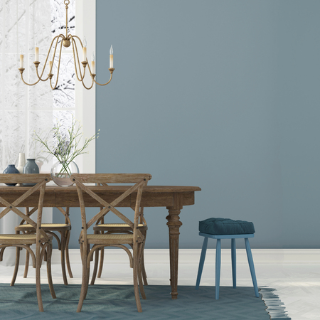 3D illustration. Winter interior  of dining room in blue tones with wooden furniture and gold chandelier