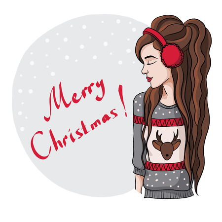 grey hair: Christmas illustration of a girl in a warm sweater with a deer pattern