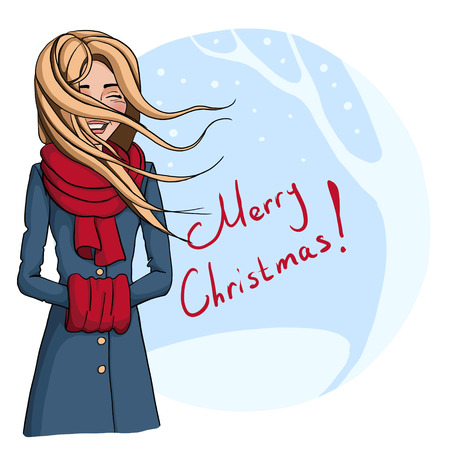 Christmas illustration of the laughing girl in a green coat with hair flying on the wind