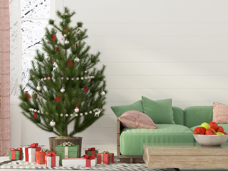 domestic room: 3D illustration. Christmas interior with a Christmas tree and a green sofa Stock Photo
