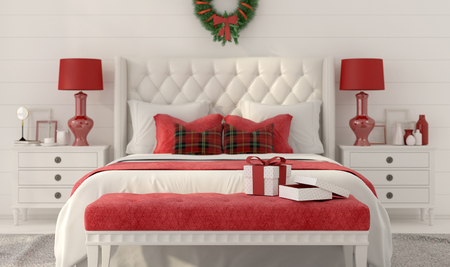 bedroom wall: 3D illustration. Christmas Interior of white bedroom with red decorations and gifts on the bench Stock Photo