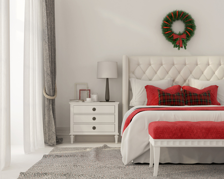 3D illustration. Christmas Interior of a white bedroom with red decorations and a Christmas wreath on the wall 스톡 콘텐츠