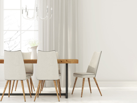 3D illustration. Interior  of dining room in white tones with wooden furniture and glass chandelier