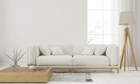 3D-afbeelding. Moderne witte woonkamer met houten elementen
