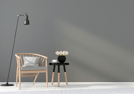 chair wooden: 3D illustration. Wooden chair and coffee table in a gray interior