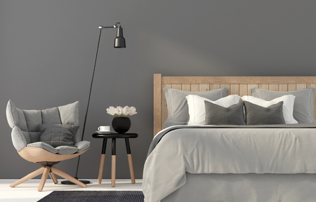chair wooden: 3D illustration. The interior of gray bedroom with a wooden chair and a bed Stock Photo