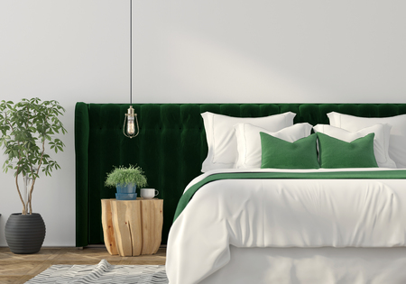 apartment suite: 3D illustration. Trendy bedroom interior with green velvet back of the bed and wooden table