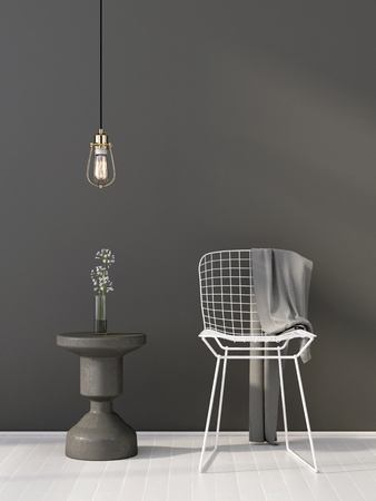 3D illustration. Grey interior with table and white chair