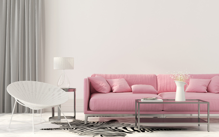 domestic room: 3D illustration. Elegant living room with a pink sofa