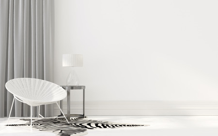 white interior: 3D illustration. White interior with wicker chair