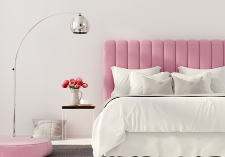3D illustration. Modern bedroom with pink bed 스톡 콘텐츠