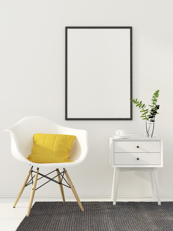 3D illustration. Mock up poster in white interior with modern chair and a yellow pillow