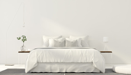 3D illustration. Minimalistic interior of white bedroom Stock Photo