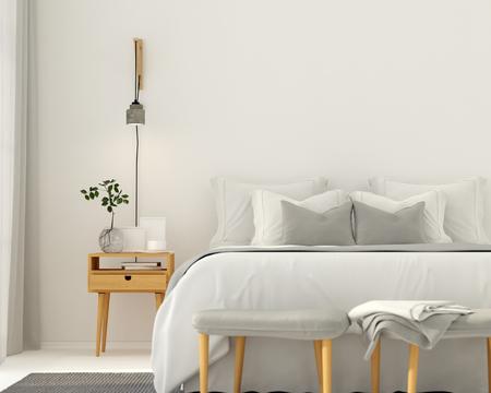 3 D イラスト。木製家具と明るいグレーのモダンなベッドルームのインテリア