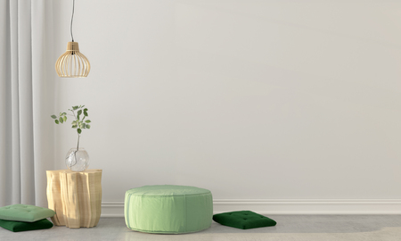 modern apartment: 3D illustration. Mock up of interior with a green puff and a wooden table
