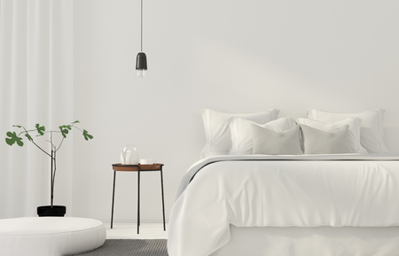 bedclothes: 3D illustration. Minimalistic white bedroom with a wooden table Stock Photo