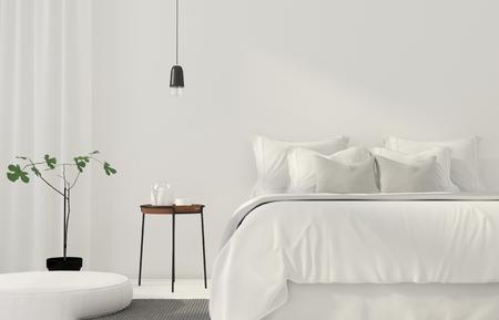 Illustration 3D Chambre blanche minimaliste avec une table en bois Banque d'images