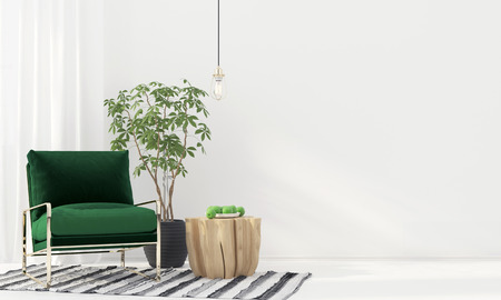 domestic room: 3D illustration. Stylish interior with green velvet armchair and wooden table