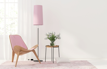 windows home: 3D illustration. Modern interior with a light pink armchair and floor lamp