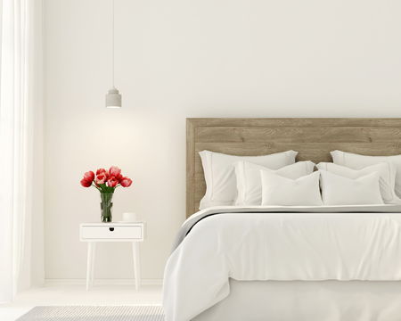 bedclothes: 3D illustration. Interior of the bedroom in white color and with tulips on the bedside table Stock Photo