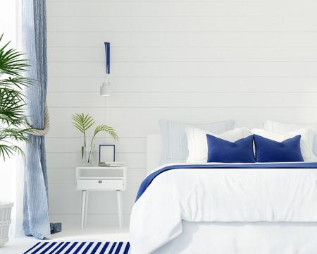 3 D イラスト。マリン スタイルでモダンなベッドルームのインテリア 写真素材
