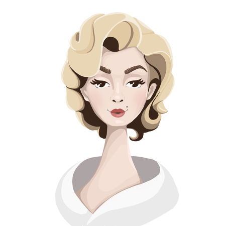 Character illustration. Illustration of an attractive blonde in the style of Merlin Monroe
