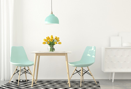 3D illustration. Interior of dining room with blue chairs