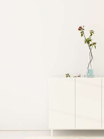 chest wall: 3D illustration. White interior with flowering branches in a vase