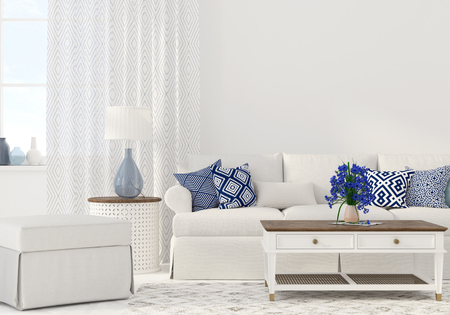3D illustration. Interior of the living room in white and blue color