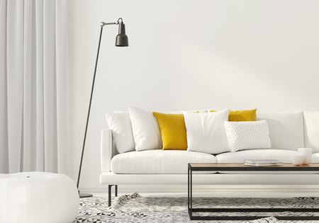 3D illustration. Modern interior of the living room with a white sofa Standard-Bild