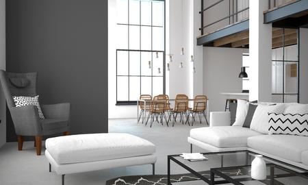 3D 그림입니다. 밝은 색상의 로프트 스타일 아파트의 인테리어