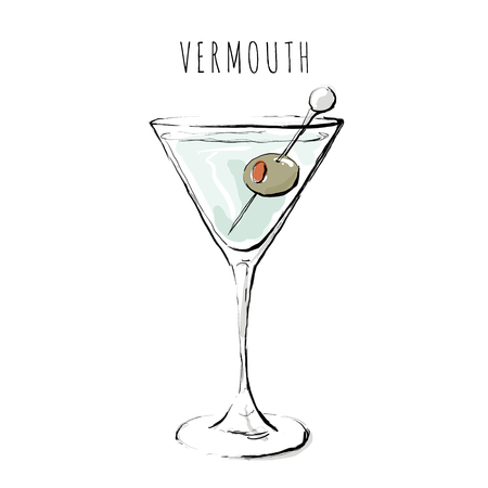 Digital illustration of an alcoholic drink. A glass of vermouth