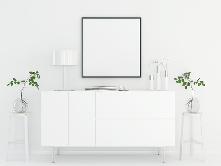 chromium: 3D illustration. Mock up interior with a white chest of drawers Stock Photo
